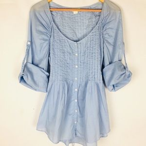 lil Anthropologie chambray babydoll blouse top